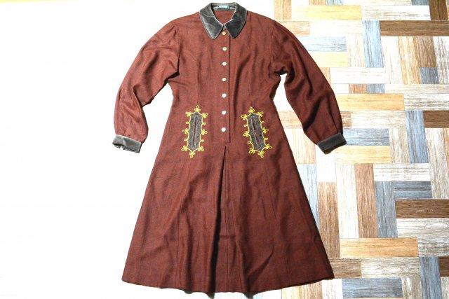 Vintage CASORSPORT イタリア製 ウール ベロア襟 ワンピース ブラウン (レディース古着)