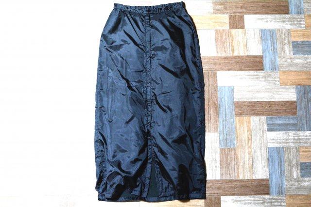 C.P.COMPANY イタリア製 ポリエステル ジップアップ ロング スカート ブラック (レディース古着)