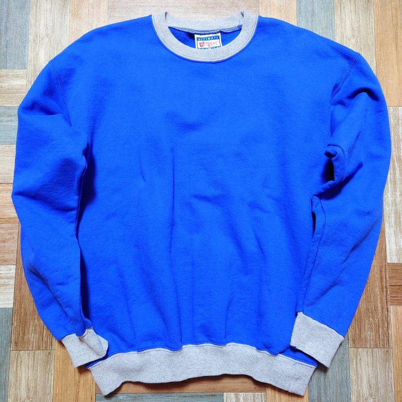 90' Vintage Hanes ULTIMATE COTTON リンガー スウェット ブルー×グレー (メンズ古着)