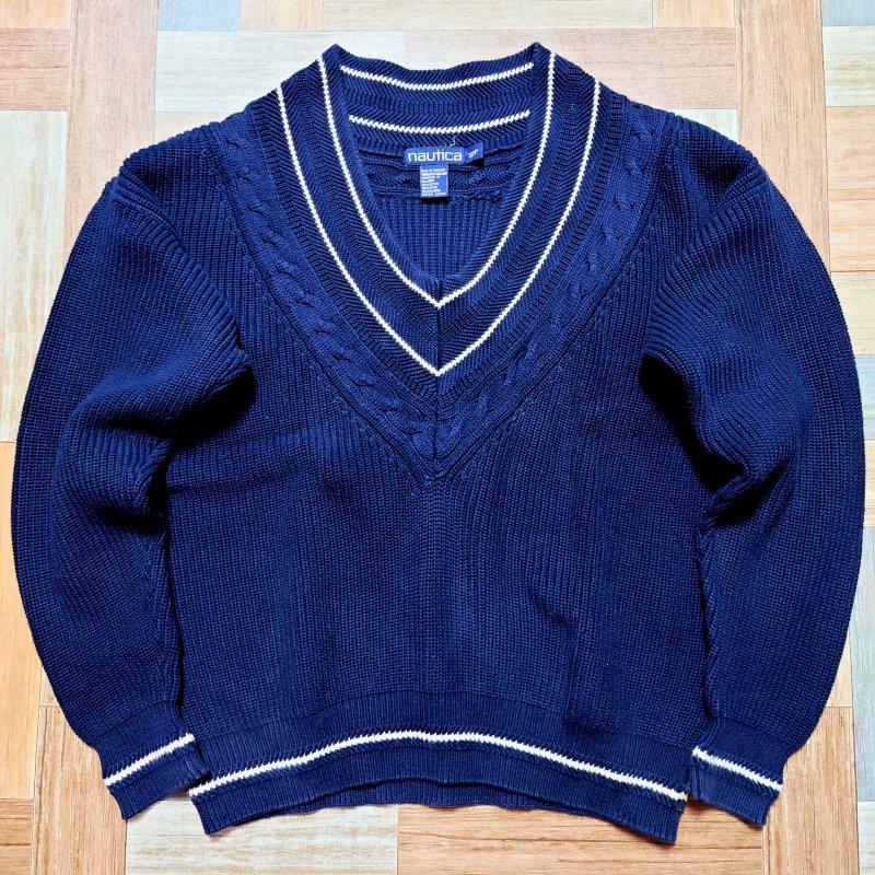90's Vintage nautica コットン チルデン ニット セーター ネイビー (メンズ古着)