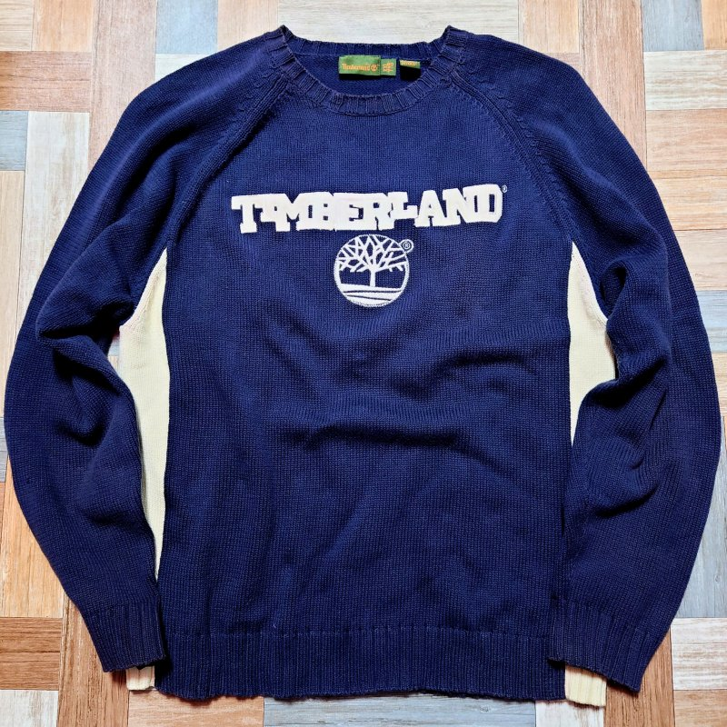 90's Vintage Timberland コットン ロゴ ニット セーター ネイビー×ホワイト (メンズ古着)