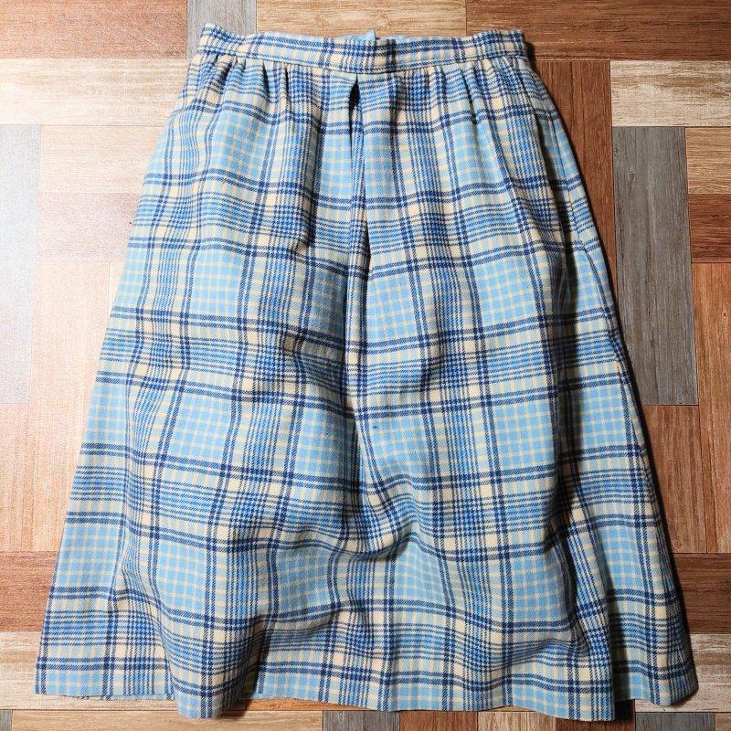 70's Vintage Pendleton USA製 ウール チェック スカート ライトブルー (レディース古着)