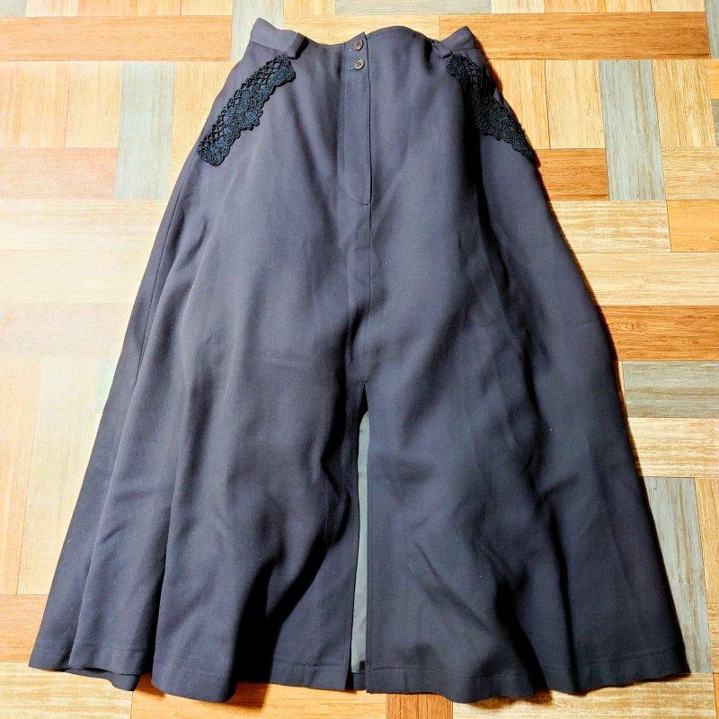 レース装飾 スリット ロング スカート チャコールグレー (レディース古着)