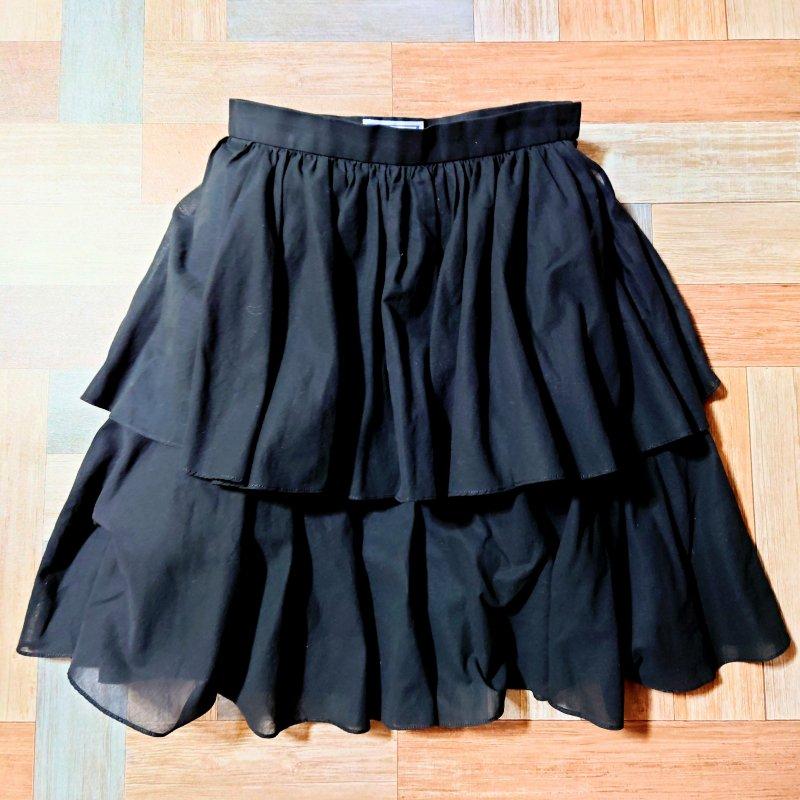 Vintage YVES SAINT LAURENT ティアード ミニ スカート ブラック (レディース古着)