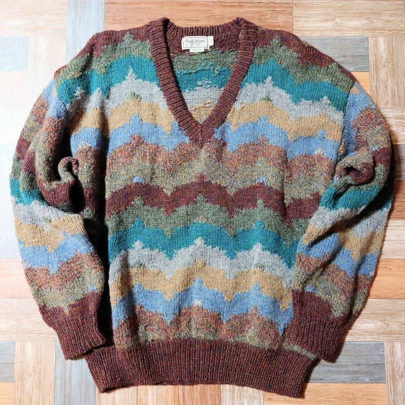 90's Vintage Paul Stuart ウール ウェーブボーダー Vネック ニット セーター ブラウンミックス (メンズ古着)