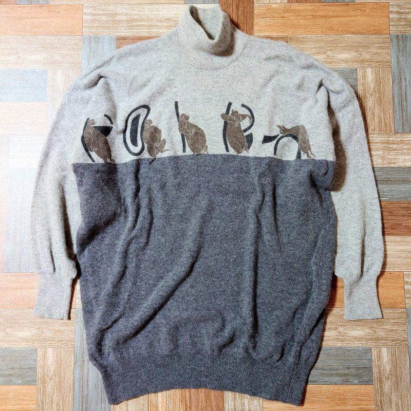 Vintage Poi by Krizia イタリア製 アニマルロゴ モックネック ニット セーター グレー×チャコールグレー (メンズ古着)