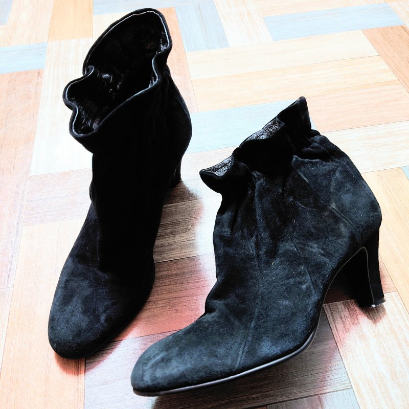 tsumori chisato WALK スエード レザー デザイン ショート ブーツ ブラック (レディース古着)