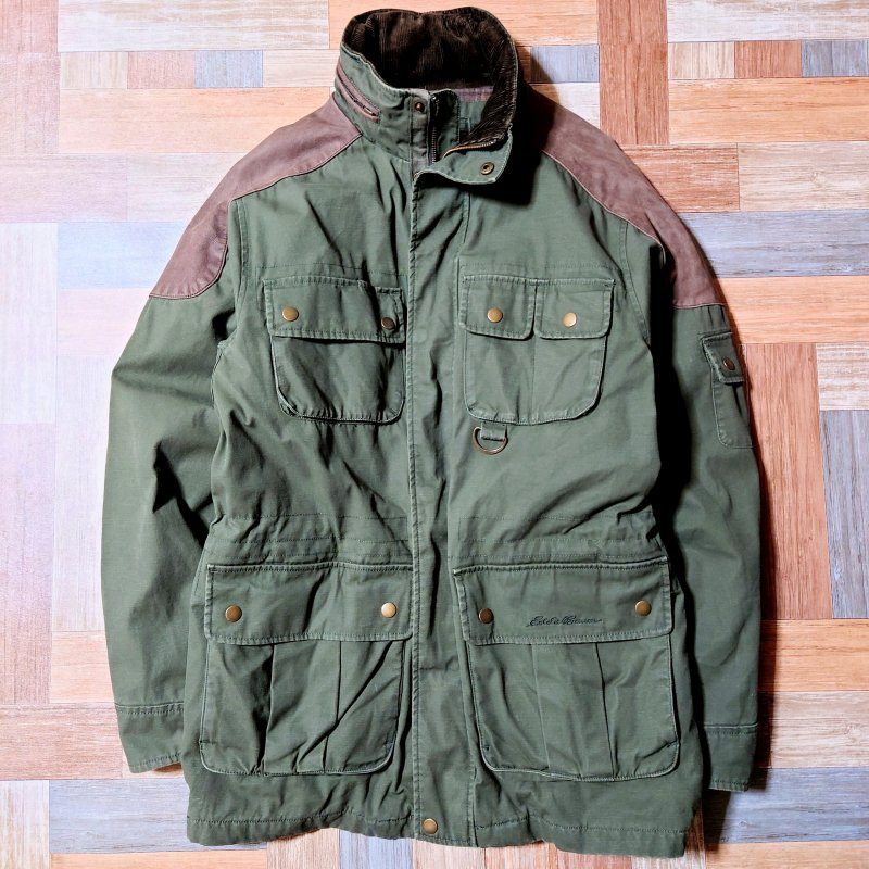 <img class='new_mark_img1' src='https://img.shop-pro.jp/img/new/icons5.gif' style='border:none;display:inline;margin:0px;padding:0px;width:auto;' />90's Vintage Eddie Bauer レザー コンビ M-65 ミリタリー ジャケット カーキ×ブラウン (メンズ古着)