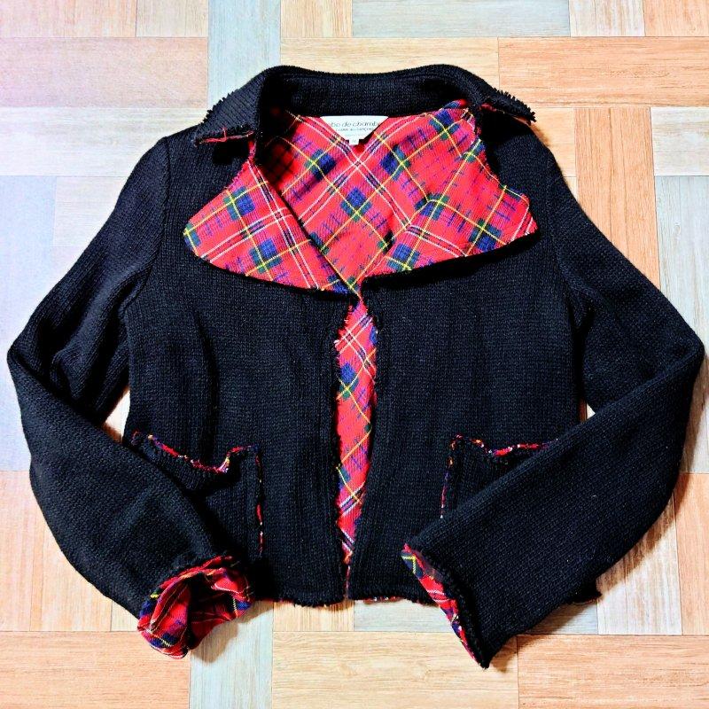 robe de chambre COMME des GARCONS AD2002 タータンチェック ライナー ニット ジャケット ブラック (レディース古着)