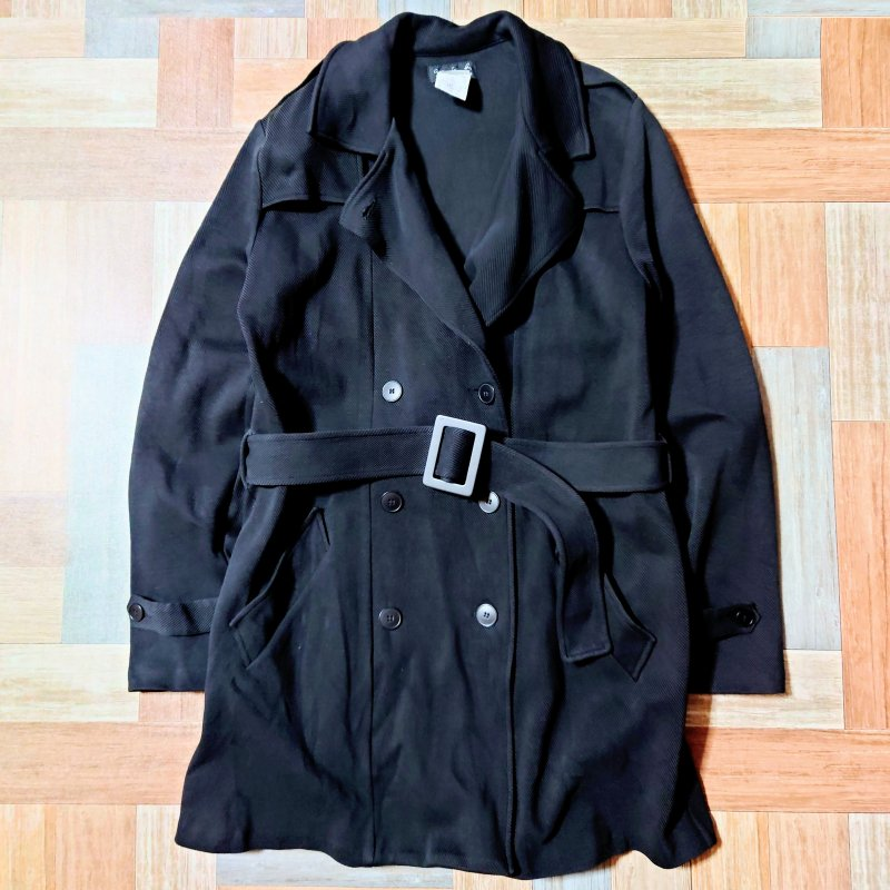 agnes b. ポーランド製 トレンチ コート ブラック (レディース古着)
