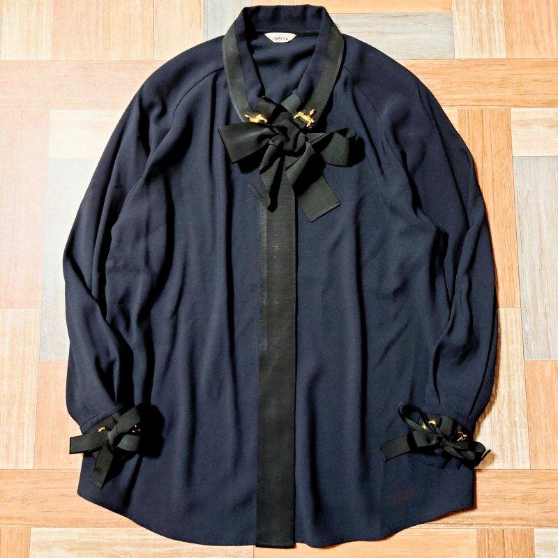 デザイン リボン シャツ ブラック (レディース古着)