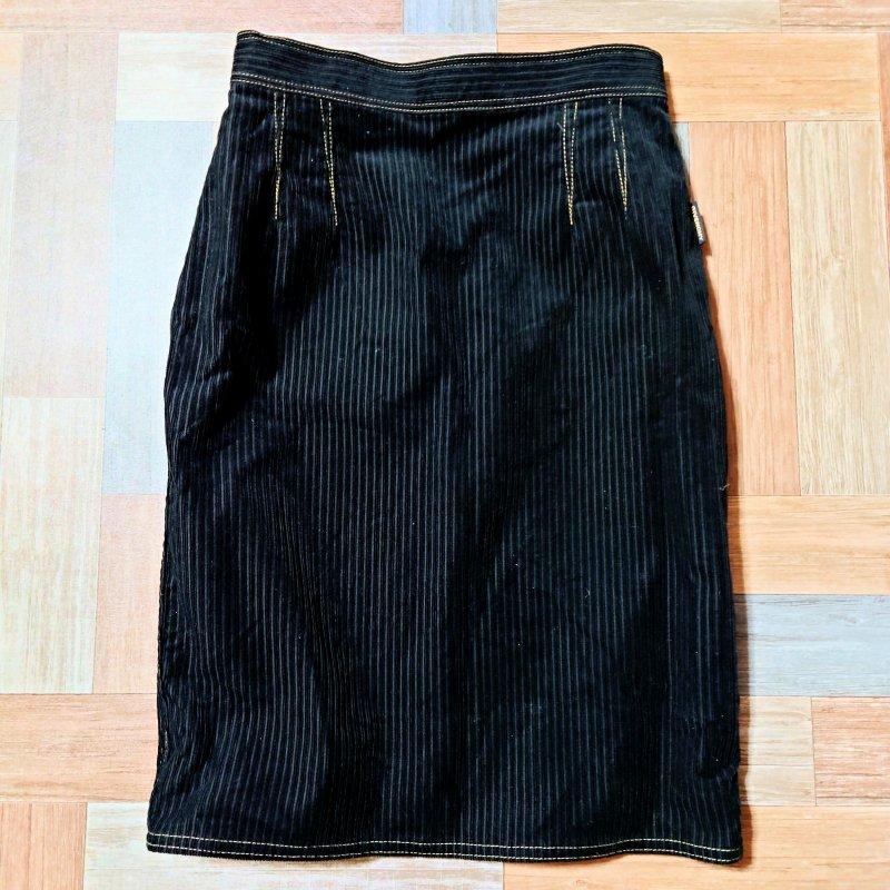 Vintage GIVENCHY コーデュロイ スカート ブラック (レディース古着)