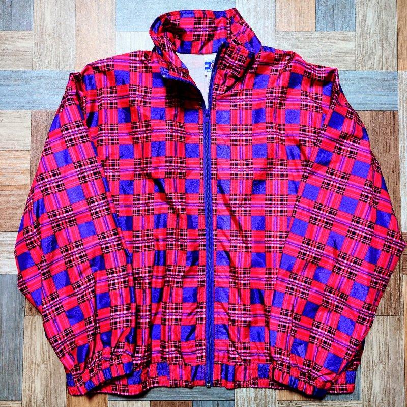 90's Vintage PRO SPIRIT ナイロン チェック トラック ジャケット ピンク×パープル (メンズ古着)