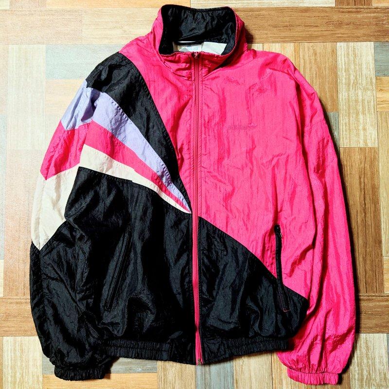 90's Vintage adidas トラック ジャケット ピンク×ブラック (メンズ古着)