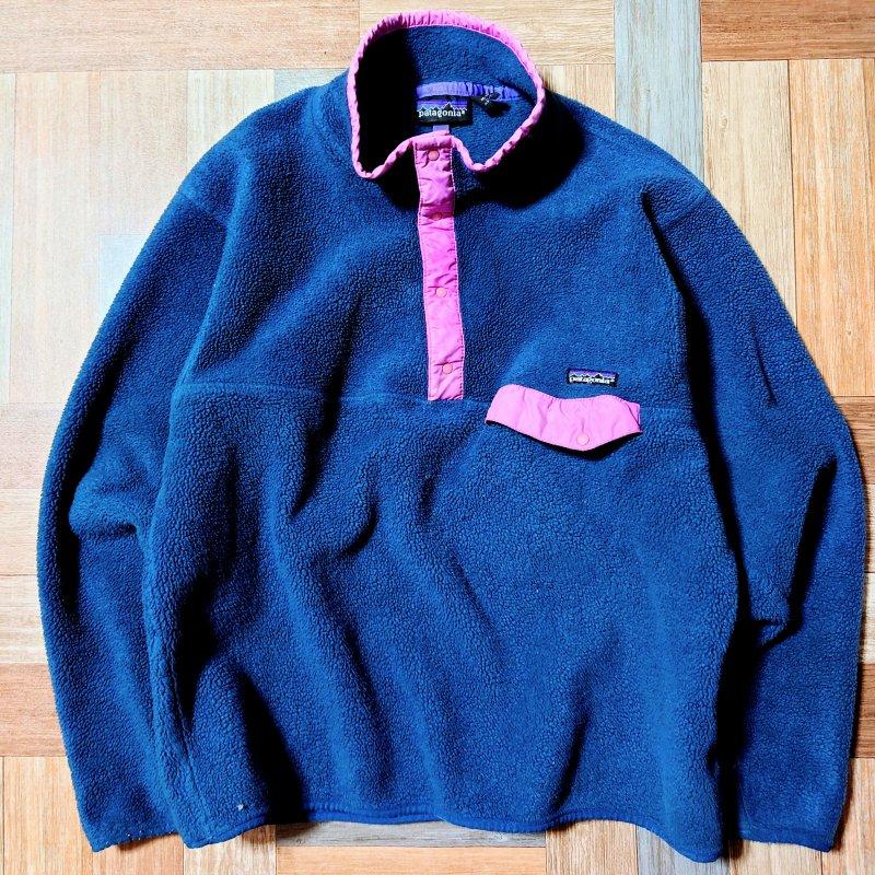 Vintage patagonia USA製 スナップT フリース プルオーバー ジャケット ネイビー×ピンク (メンズ古着)