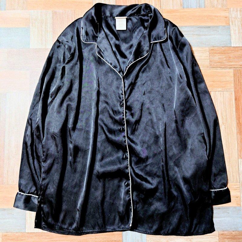 Vintage パイピング パジャマ シャツ ブラック (レディース古着)
