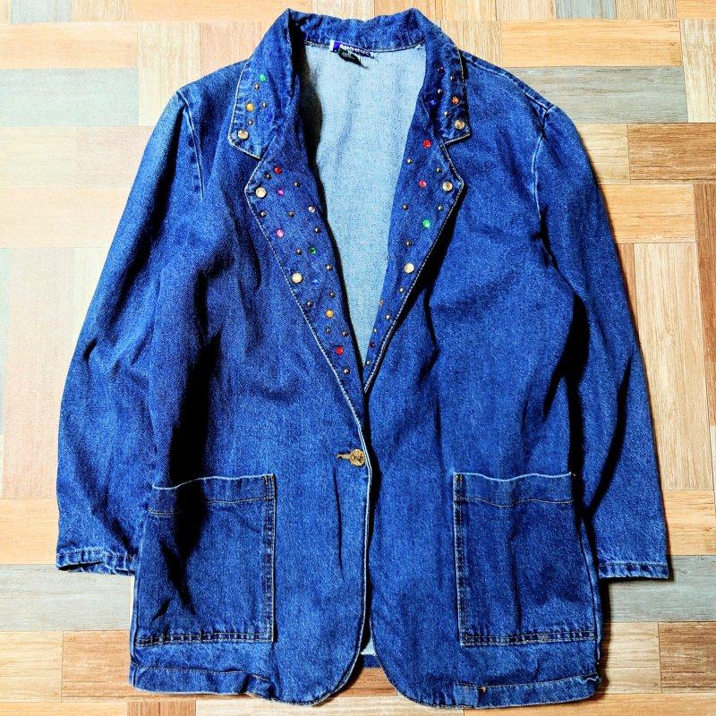 Vintage Hanna casual USA製 デニム ラインストーン付き テーラード ジャケット (レディース古着)