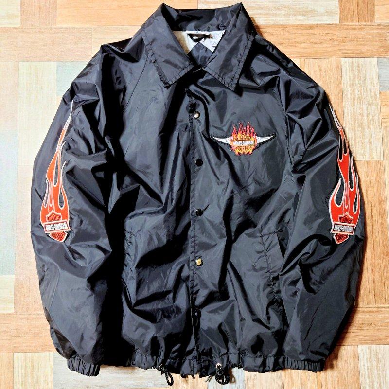 90's Vintage ATHLETECH ワッペン カスタム コーチジャケット ブラック (メンズ古着)