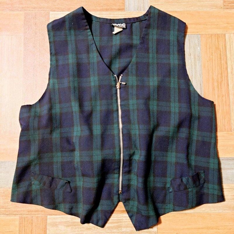 Vintage NEW YORK CLOTHING USA製 ブラックウォッチ ジップアップ ベスト (メンズ古着)