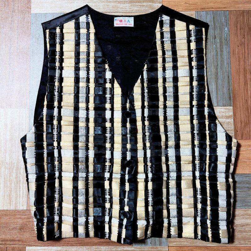 Vintage USA製 リボン 編み込み ジレ ベスト ブラック (レディース古着)