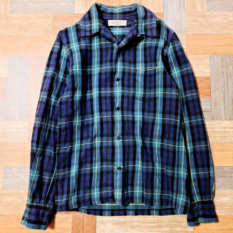 UNUSED コットンネル タータンチェック 開襟 シャツ ネイビー×グリーン (メンズ古着)