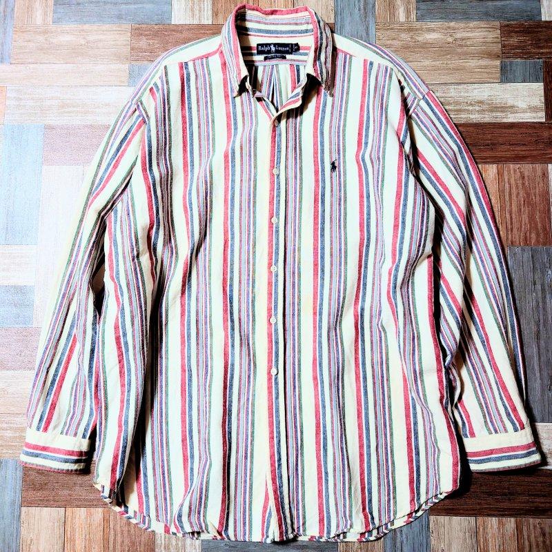 90's Vintage RALPH LAUREN The Big Shirt コットンネル マルチストライプ BD シャツ (メンズ古着)