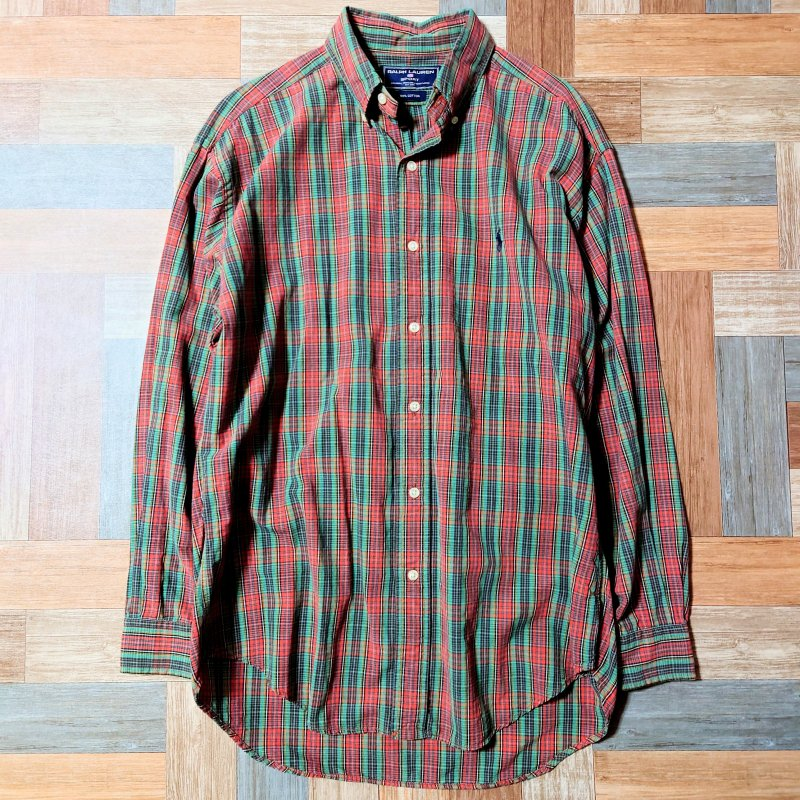90's Vintage RALPH LAUREN SPORT コットン チェック シャツ オレンジ×グリーン (メンズ古着)