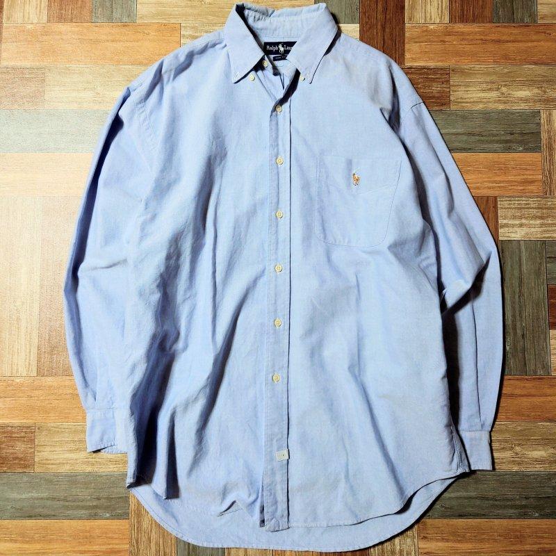 90's Vintage RALPH LAUREN オックスフォード ポケット付き BD シャツ ライトブルー (メンズ古着)