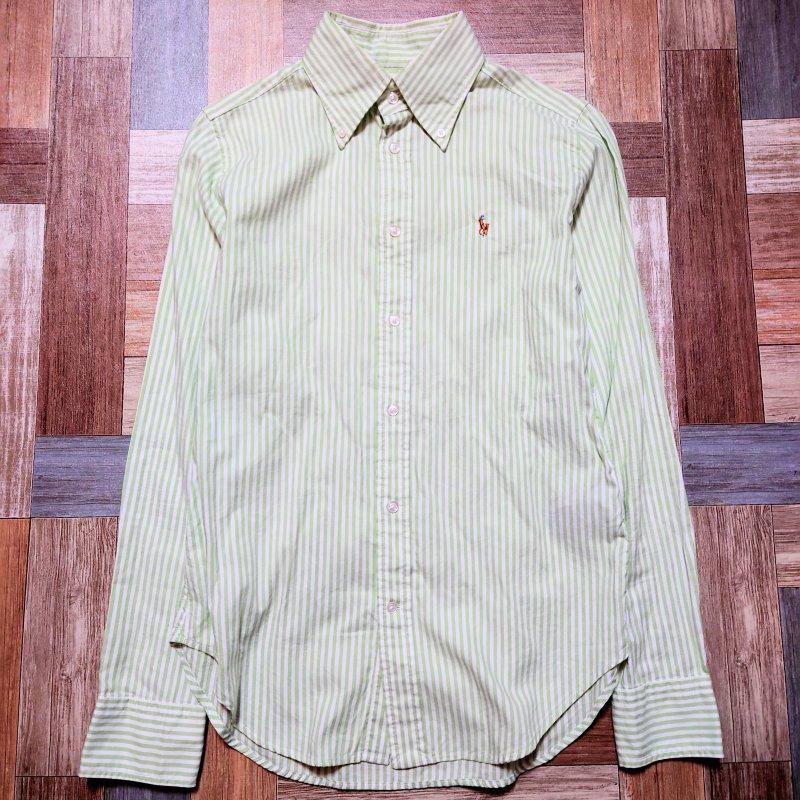 RALPH LAUREN コットン ストライプ BD シャツ ホワイト×グリーン (レディース古着)