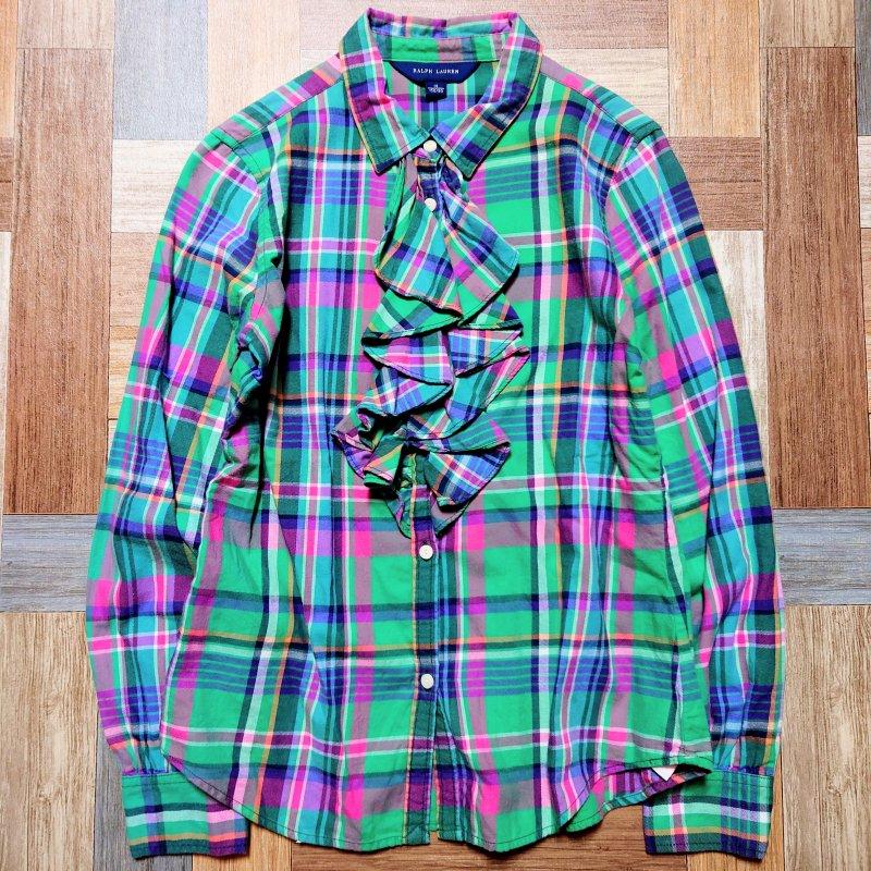 RALPH LAUREN コットン チェック フリル シャツ グリーン 14サイズ (キッズ古着)