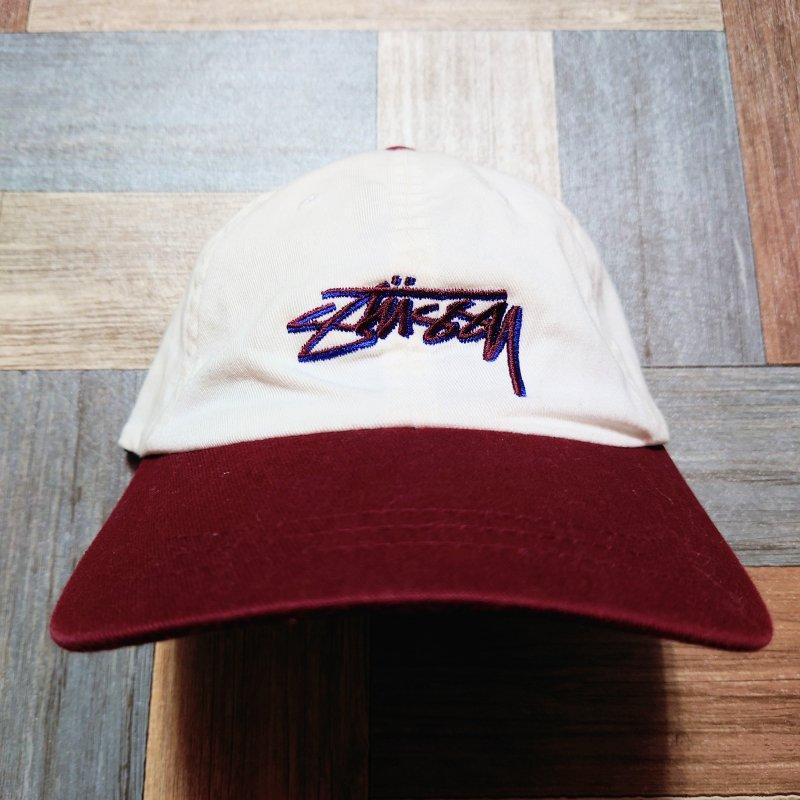 STUSSY FLEXFIT ツートン ロゴ キャップ オフホワイト×バーガンディー (USED&VINTAGE)