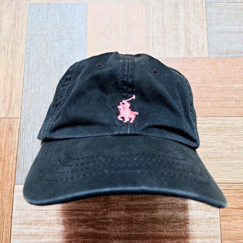 RALPH LAUREN ピンクポニー ロゴ キャップ ブラック キッズ 4-6X (USED&VINTAGE)