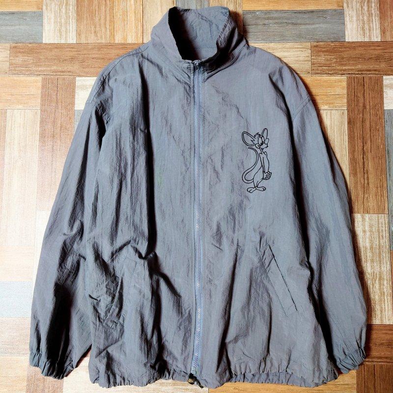 Vintage ポリエステル キャラクター刺繍 トラック ジャケット グレー (メンズ古着)