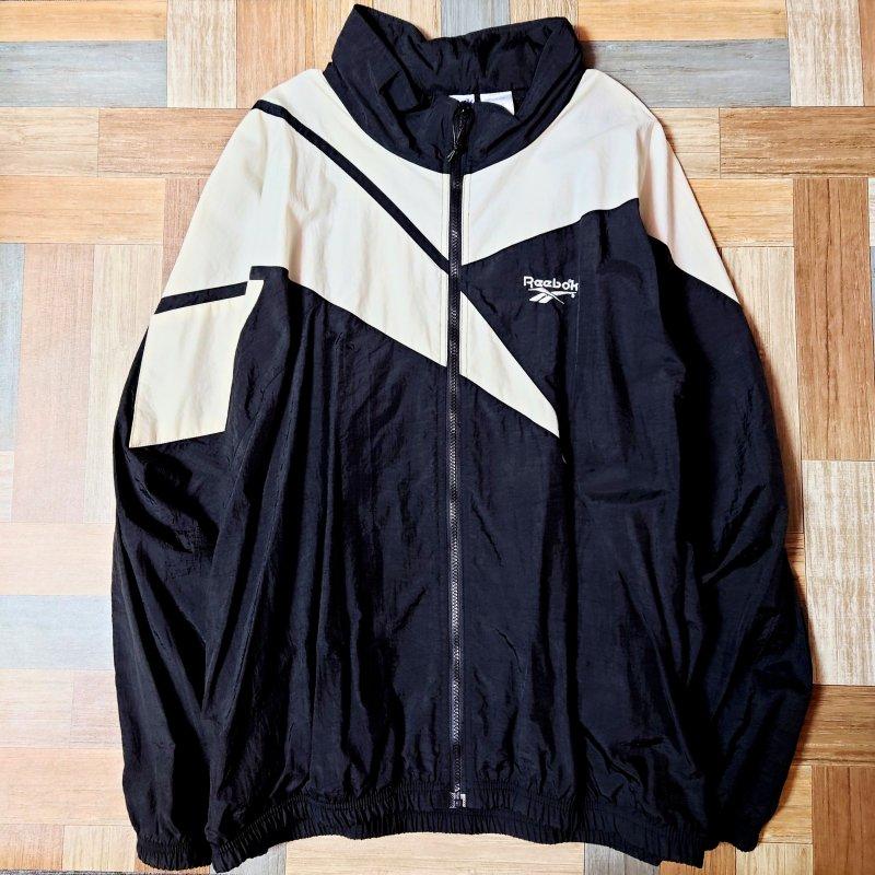 90's Vintage Reebok ナイロン ロゴ トラック ジャケット ブラック (メンズ古着)