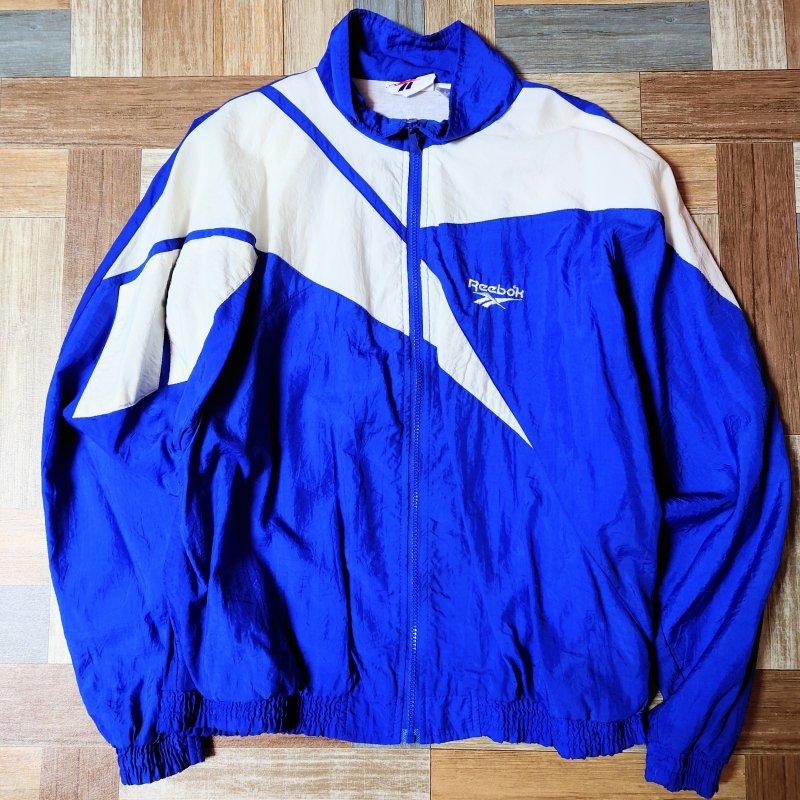 90's Vintage Reebok ナイロン ロゴ トラック ジャケット ブルー (メンズ古着)