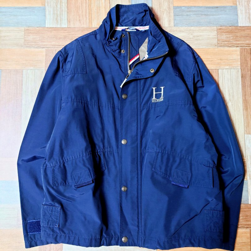 90's Vintage TOMMY HILFIGER スタンドカラー ジャケット ネイビー (メンズ古着)