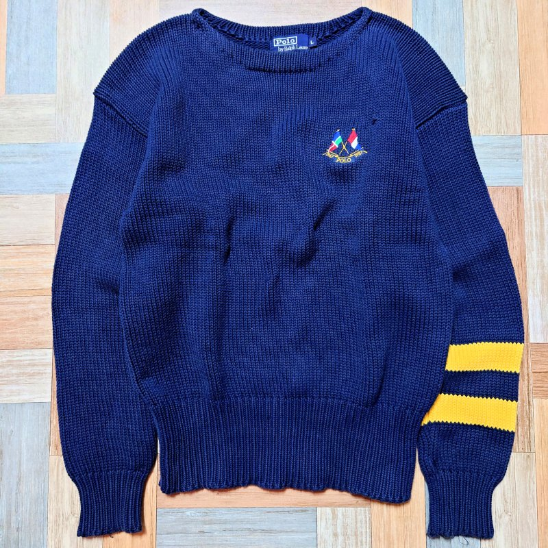 <img class='new_mark_img1' src='https://img.shop-pro.jp/img/new/icons13.gif' style='border:none;display:inline;margin:0px;padding:0px;width:auto;' />90's Vintage POLO RALPH LAUREN コットン エンブレム ニット セーター ネイビー (メンズ古着)
