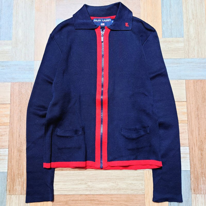 <img class='new_mark_img1' src='https://img.shop-pro.jp/img/new/icons13.gif' style='border:none;display:inline;margin:0px;padding:0px;width:auto;' />90's Vintage POLO SPORT RALPH LAUREN コットン ニット ジャケット ネイビー×レッド (レディース古着)