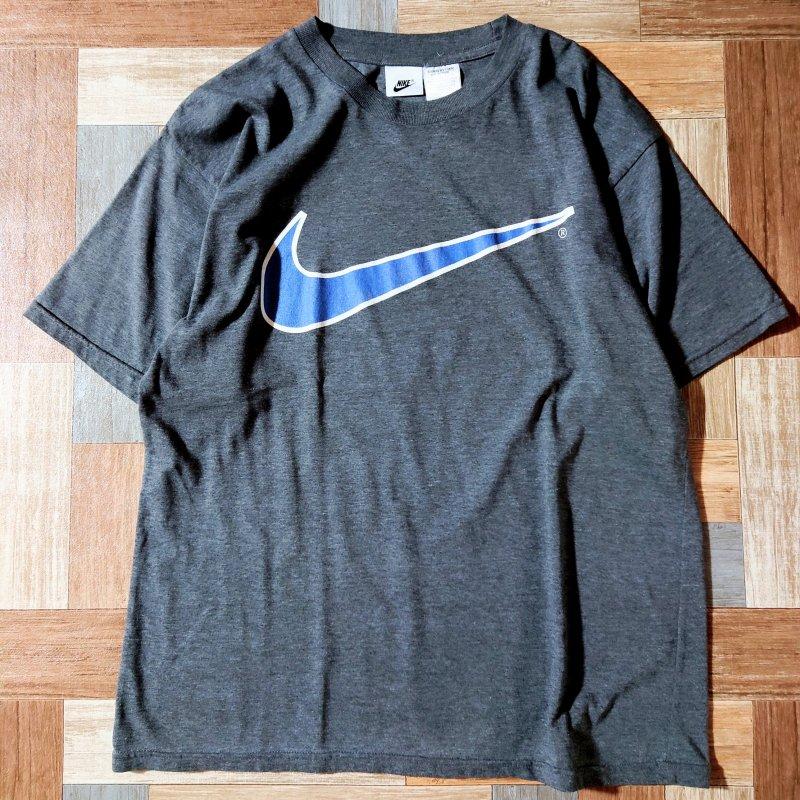 90's Vintage NIKE ビッグロゴ Tシャツ チャコールグレー (メンズ古着)
