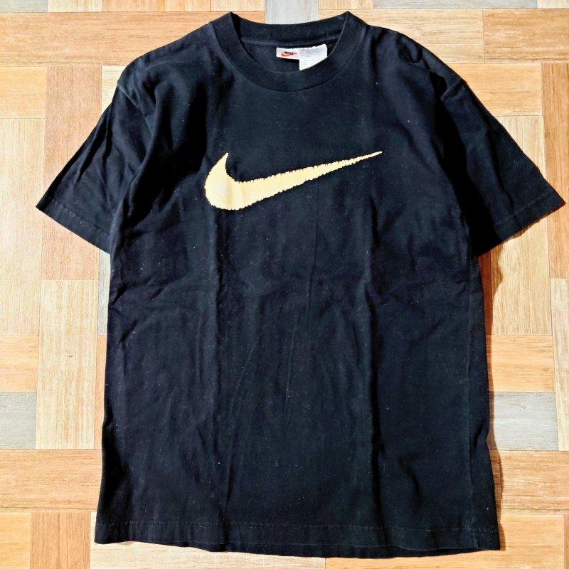 90's Vintage NIKE ビッグロゴ Tシャツ ブラック (メンズ古着)