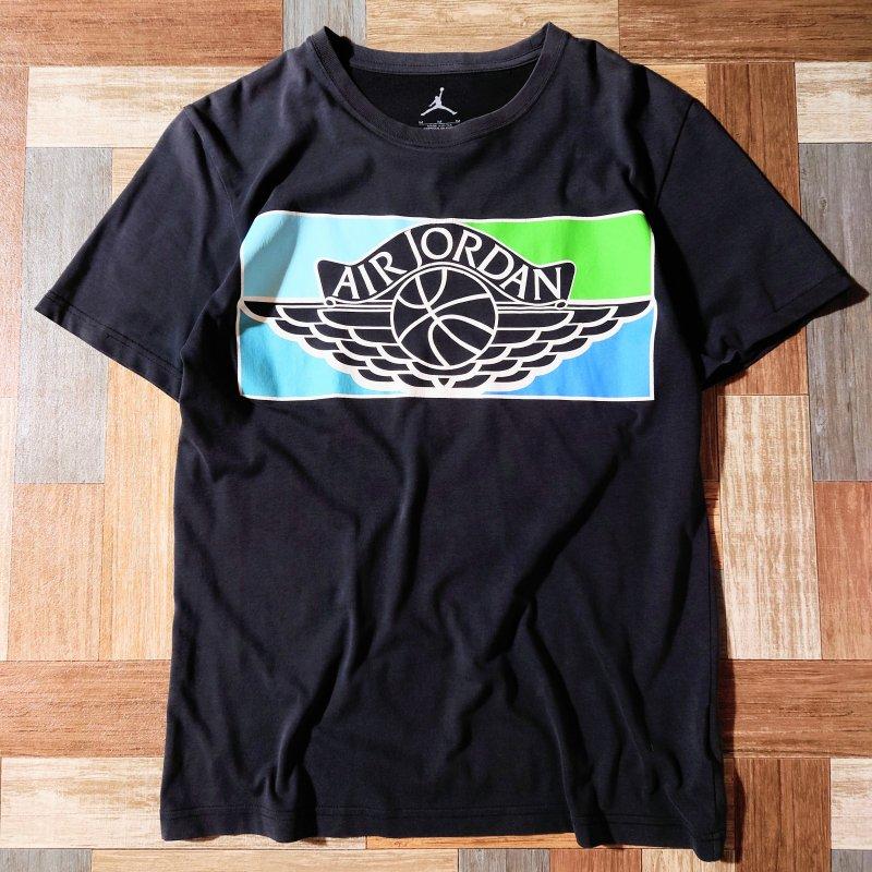NIKE AIR JORDAN ロゴ Tシャツ ブラック (メンズ古着)