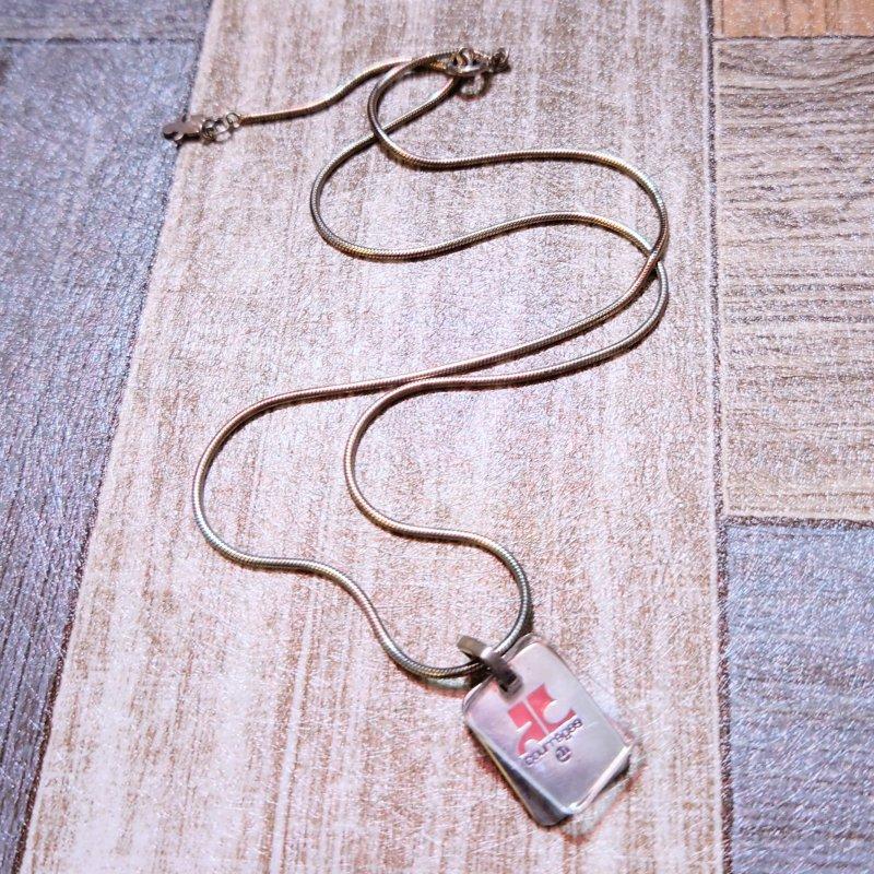 Vintage courreges Silver 925 プレート ネックレス (USED&VINTAGE)