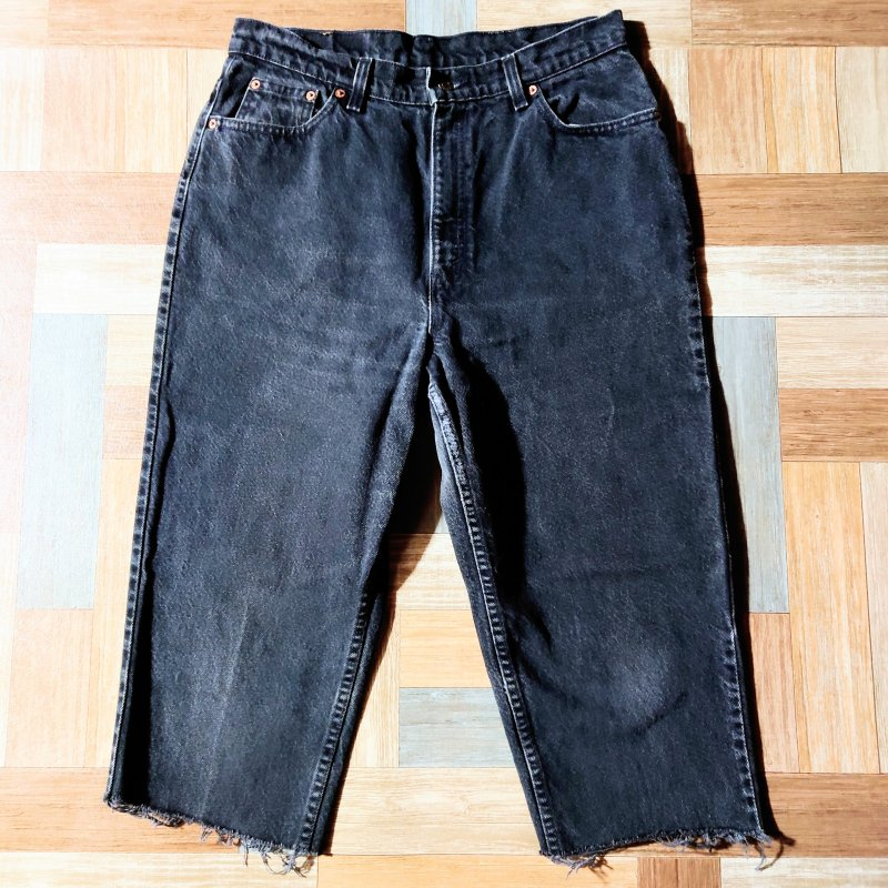 90's Vintage Levi's USA製 521 カットオフ ワイドテーパード デニム パンツ ブラック (メンズ古着)