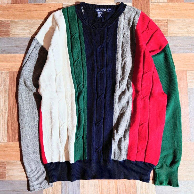 90's Vintage nautica コットン マルチカラー ニット セーター (メンズ古着)