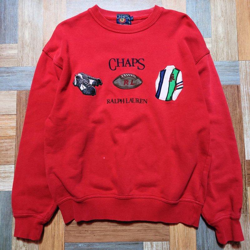 90's Vintage CHAPS RALPH LAUREN ロゴ スウェット レッド (メンズ古着)