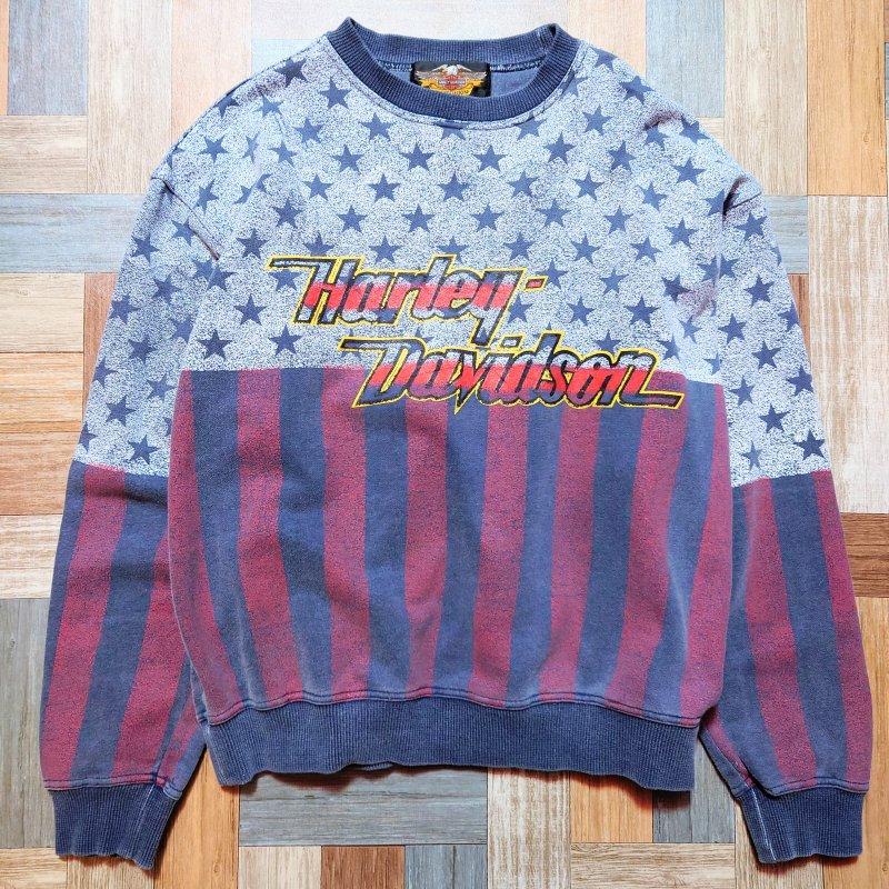 90's Vintage HARLEY DAVIDSON フラッグ ロゴ スウェット ネイビー (メンズ古着)