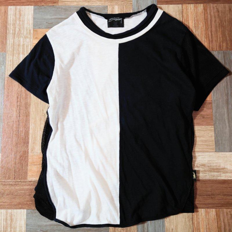 STUSSY WOMEN バイカラー アシンメトリー Tシャツ (レディース古着)