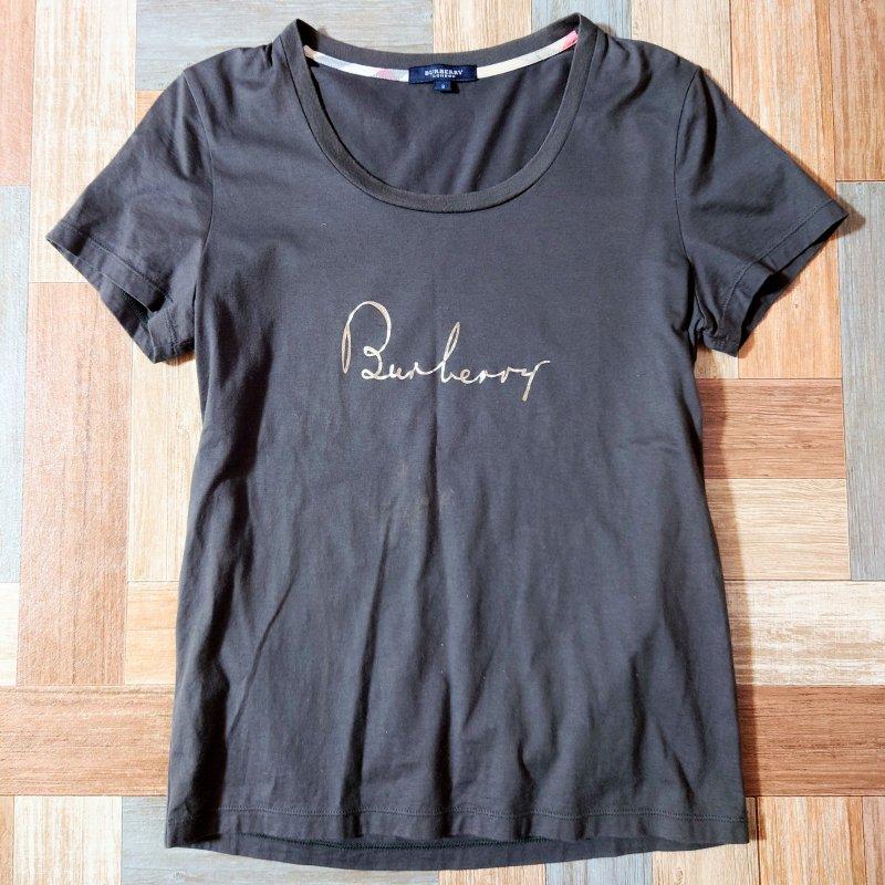 BURBERRY LONDON ロゴ Tシャツ チャコールグレー (レディース古着)