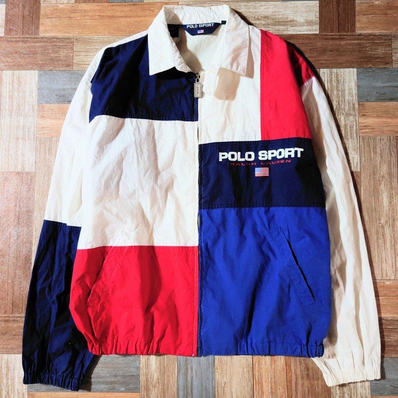 90's Vintage POLO SPORT RALPH LAUREN カラーブロック スイングトップ トリコロール Lサイズ (メンズ古着)