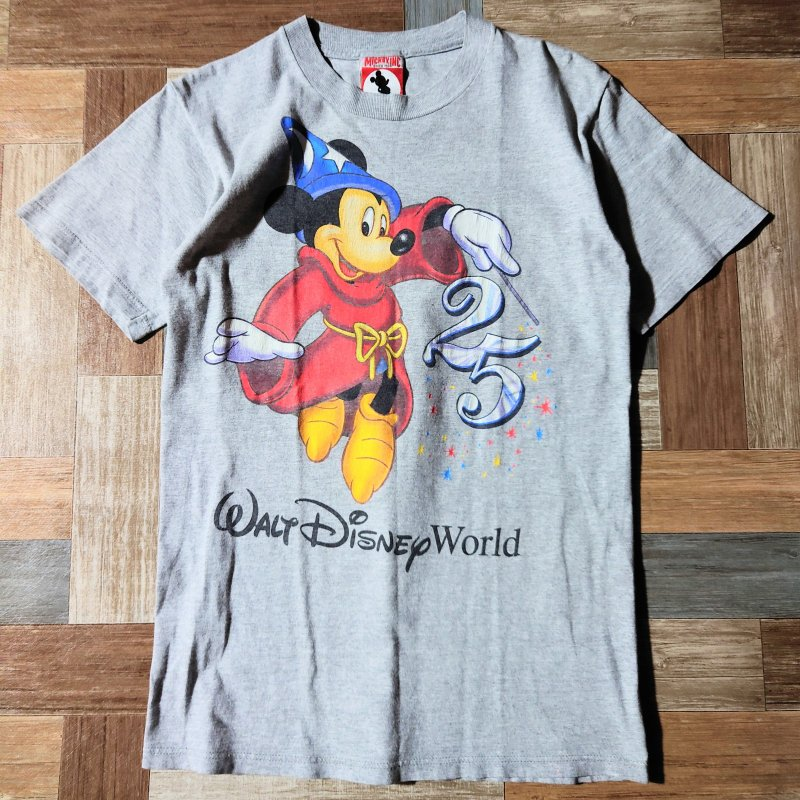 90's Vintage MICKEY,INC USA製 25th アニバーサリー Tシャツ 杢グレー (メンズ古着)